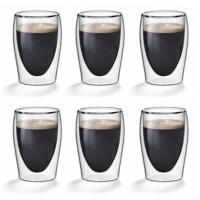 Dubbelwandige koffieglazen 0,20L. set van 6 - Flame