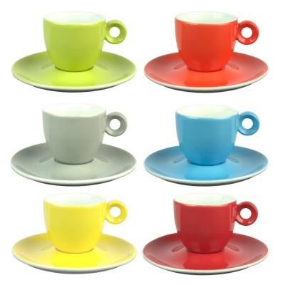 Espressokopjes - 80ml - Mosterdman - 6 kopjes met schotel regenboog
