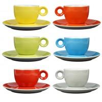 Koffiekopjes - 150ml - Mosterdman - 6 kopjes met schotel regenboog